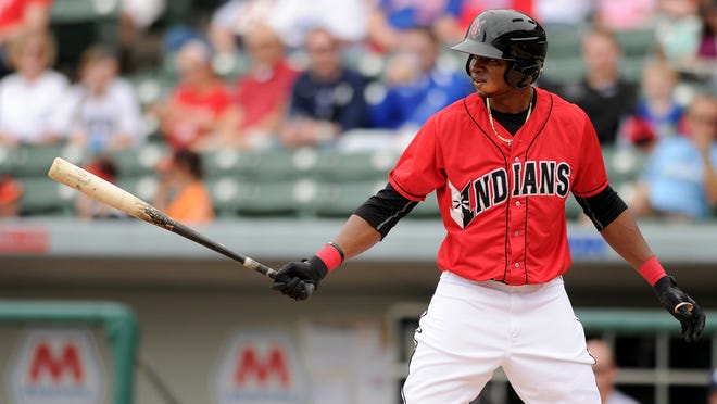 Indianapolis Indians batter Gregory Polanco steps up to the plate against the Columbus Clippers at Victory Field, Sunday, April 13, 2014, in Indianapolis.