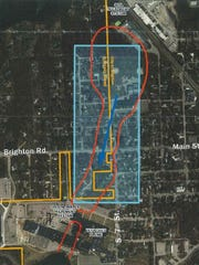 A map from the Michigan Department of Environmental Quality shows the general location of a trichloroethylene chemical plume in Brighton and Genoa Township. The red line shows the boundaries of groundwater contamination. State environmental officials are also investigating a larger area, within the box, for indoor air contamination.
