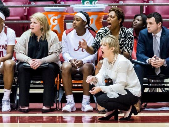 Alabama coach Kristy Curry yells during the team's NCAA college basketball game against South Carolina on Thursday, Feb. 8, 2018, at Coleman Coliseum in Tuscaloosa, Ala. (Vasha Hunt/AL.com via AP)