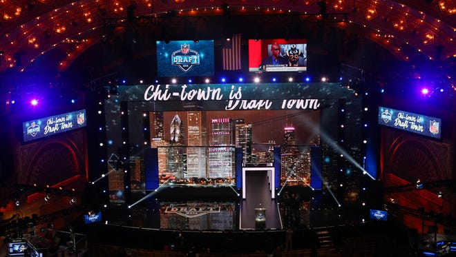 A general view of the stage and podium before the 2016 NFL draft at the Auditorium Theatre.
