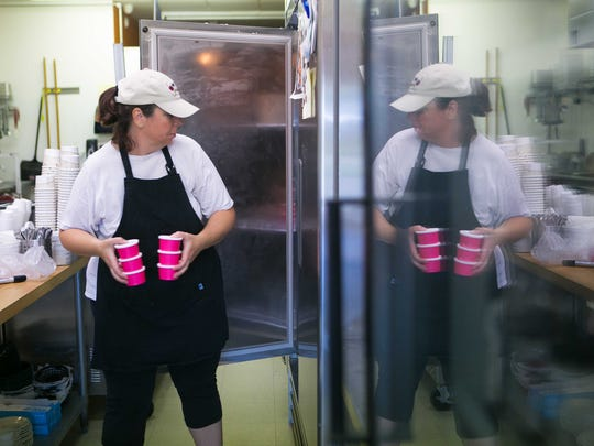 Blotto Gelato owner Kathleen Belfont makes her gelato which has alcohol in it at Po'Boys in Milton where she rents the commercial kitchen on the a day the restuarant is closed.