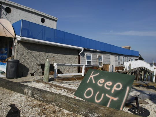 Damage to the Clam Hut Restaurant in Highlands from superstorm Sandy, shown in November 2012.