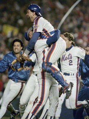 The 1986 Mets celebrate winning the franchise's second, and last, World Series title.