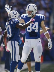 Indianapolis Colts tight end Jack Doyle (84) congratulates