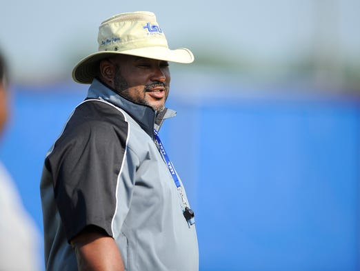 Head Coach Rod Reed at the first TSU football practice.  Monday Aug. 4, 2014, in Nashville, TN.