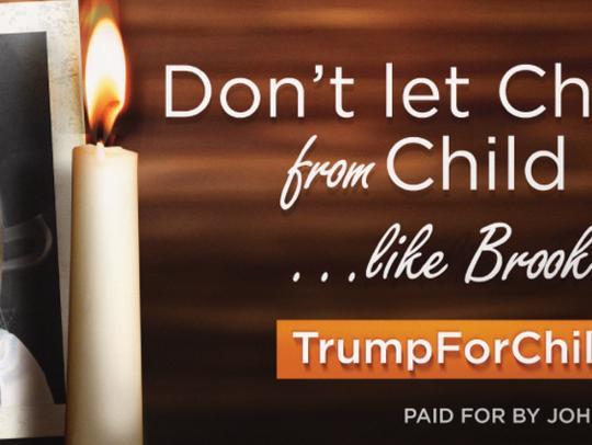 John Geer's billboard raising awareness of child abuse.