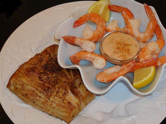 Grilled Amberjack and Shrimp with Remoulade Sauce