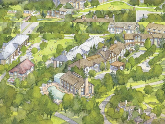 Architect's sketch of proposed hotel development at