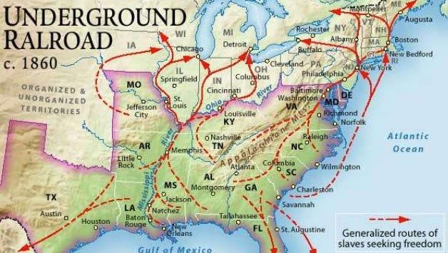 Map of the routes of the Underground Railroad