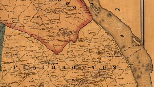 Detail from the 1860 Shearer & Lake Map of York County, Pa. showing Peach Bottom Township.