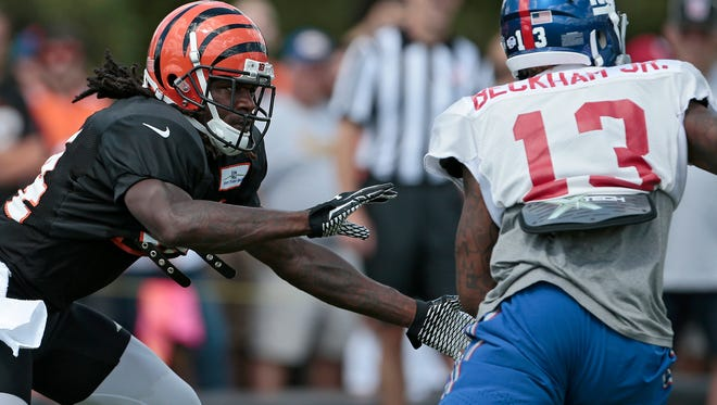 Cincinnati Bengals cornerback Adam Jones  takes on New York Giants wide receiver Odell Beckham in a joint practice the two squads Wednesday.