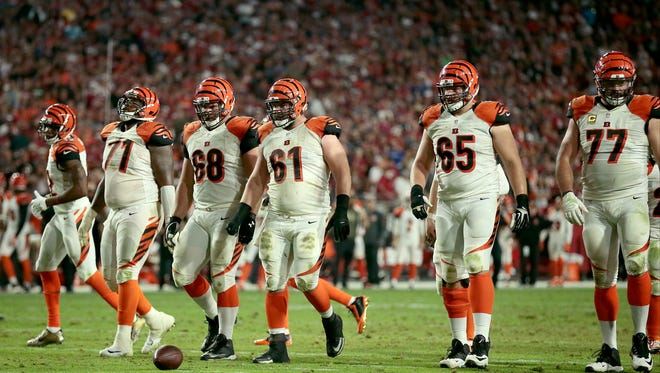 The Cincinnati Bengals offensive lines steps up the the line of scrimmage during the fourth quarter of the NFL Week 11 game between the Arizona Cardinals and the Cincinnati Bengals at University of Phoenix Stadium in Glendale, Ariz., on Sunday, Nov. 22, 2015. The Bengals fell to 8-2 with the 34-31 loss to the Cardinals on a last second field goal.