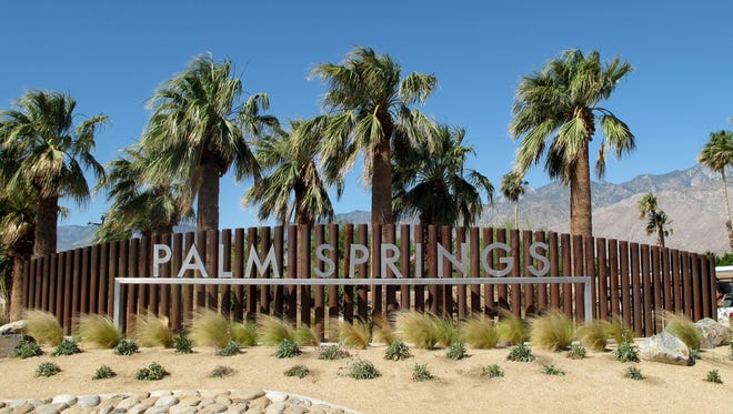 The Palm Springs welcome sign in Palm Springs, Calif.