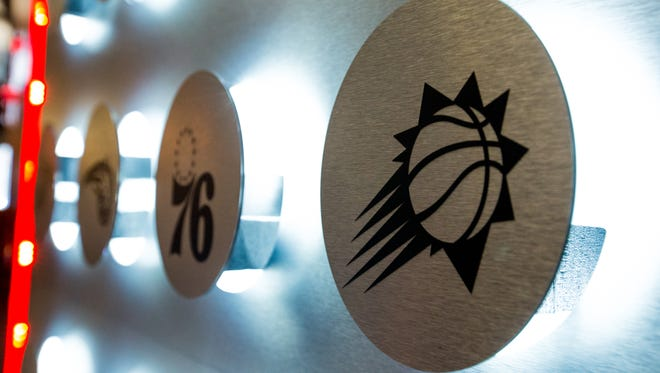 The Phoenix Suns' logo is seen on an art installation in Las Vegas at the 2018 NBA Summer League.