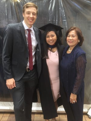 Hillary Gonzales Miranda graduated April 13, 2018 with a Master of Speech Pathology at Flinders University in Adelaide, South Australia. She is the daughter of Laly Miranda and the late Ernesto Artiaga Miranda and granddaughter of the late Adoracion Gonzales of Ordot. Pictured from left: Michael Schubert (partner), Hillary Miranda, and Laly Miranda (mother).