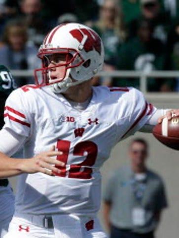 Wisconsin quarterback Alex Hornibrook was 16 for 26