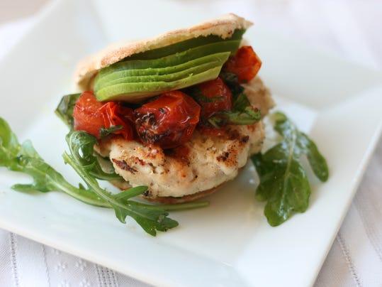 GarlicTurkey Sliders with Grilled Tomato-Basil Salsa, Arugula and Avocado.jpg