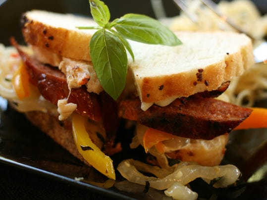 Grilled Chicken and Spicy Sausage Sandwiches on Garlic Sourdough Slices.jpg