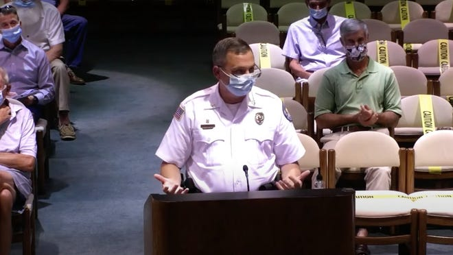 Aiken Chief of Public Safety Charles Berrranco explains during a July 13 city council meeting how a mask ordinance would help the department ensure safety and limit spread of the coronavirus.