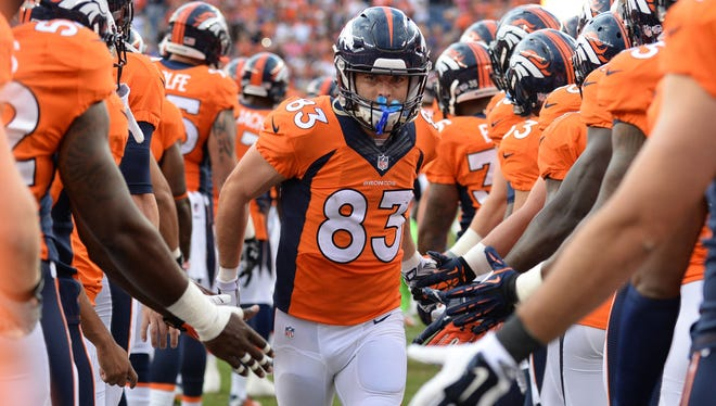 Broncos wide receiver Wes Welker (83) before a preseason game against the Seattle Seahawks.