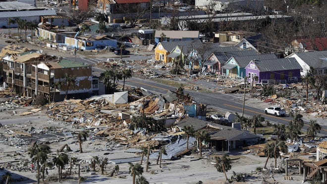 FILE - This Oct. 12, 2018 aerial file photo shows devastation from Hurricane Michael over Mexico Beach, Fla. A massive new federal report warns that extreme weather disasters, like California's wildfires and 2018's hurricanes, are worsening in the United States. The White House report quietly issued Friday, Nov. 23 also frequently contradicts President Donald Trump. (AP Photo/Gerald Herbert, File)