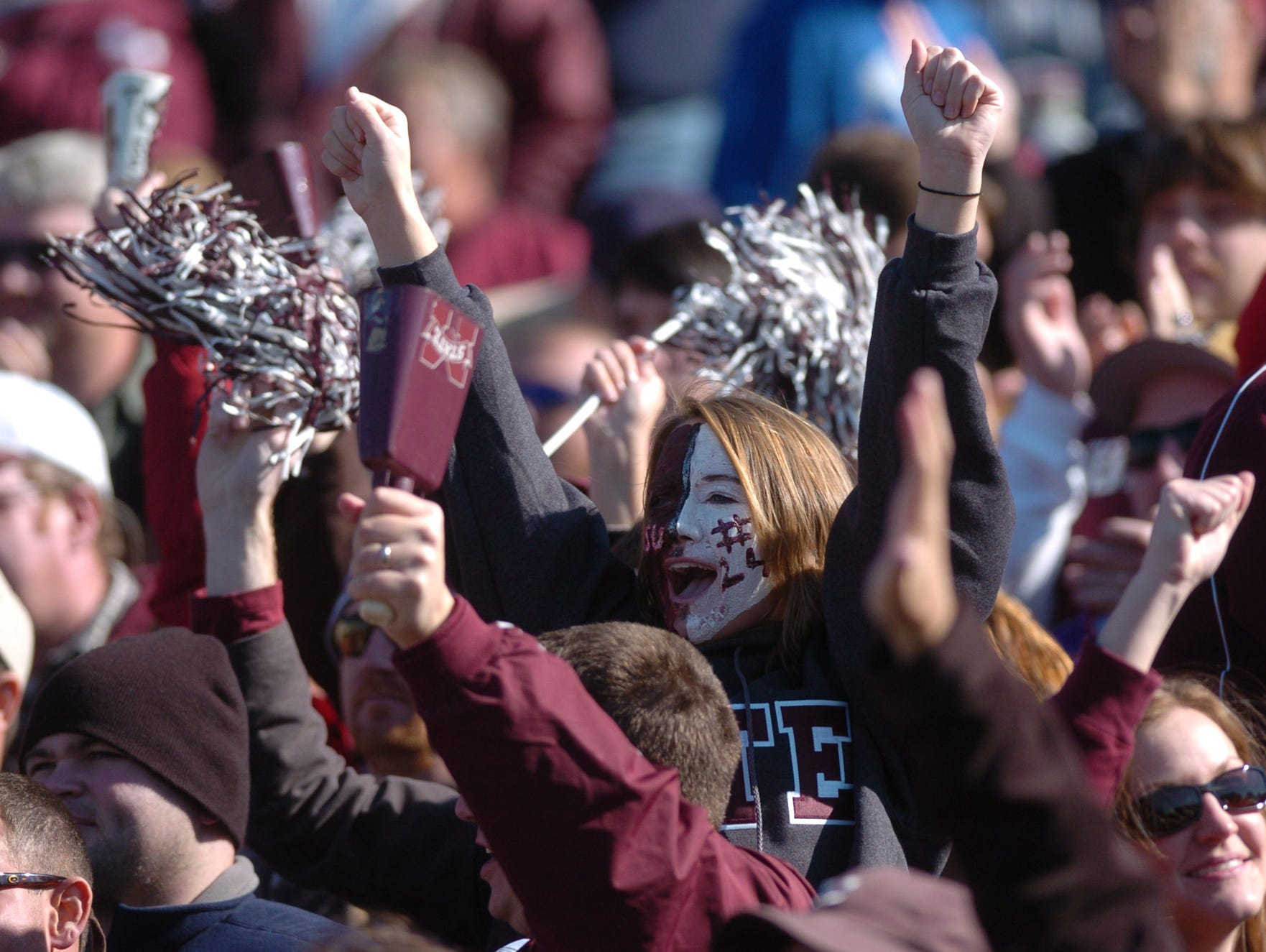 MSU fans cheer as State recovers the ball.