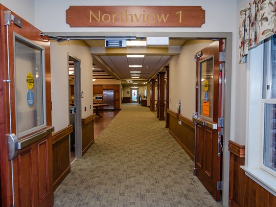 This is the entrance of Northview 1, one of the four households of Cornwall Manor's new skilled nursing building. Each household has 24 private rooms and private bathrooms.