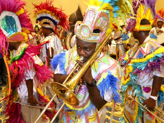 Junkanoo performers entertain MTSU and Western Michigan during the welcome reception at the Atlantis Paradise Island resort on Sunday in the Bahamas.
