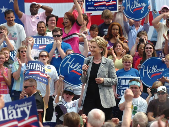 The crowd gives Hillary Clinton a cheer during her April 2008 visit to downtown York.