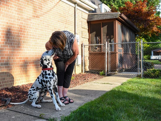 Lynn Garvin gets a kiss from Grady the Dalmatian. She and her husband Charlie Garvin have been married for 42 years. Lynn Garvin said she shares her husband's passion for the world of show dogs.