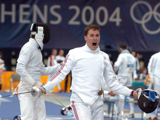 From 2004: Team USA's Chad Senior lets out a yell after