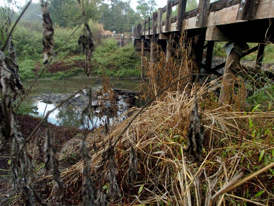 A bridge cross a creek on Ohlenforst Road  Wednesday,