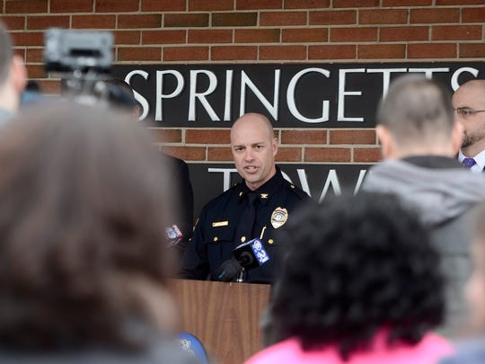 Springettsbury Township Police Chief Daniel Stump, along with Central York Superintendent Dr. Michael Snell, and District Attorney Dave Sunday, announce that Central School will be open Monday with a heavy police presence at all district buildings Sunday, February 25, 2018. John A. Pavoncello