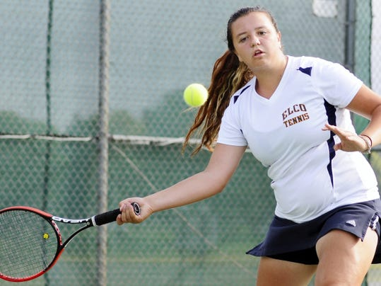 Elco's Sydney Nye returns a shot during her semifinal match against Northern Lebanon's Maja Andersson on  Saturday.