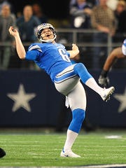 Sam Martin watches his 10-yard punt in the playoff loss to the Cowboys last season.