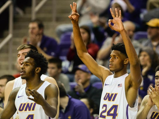 Northern Iowa Panthers guard Isaiah Brown (24) and