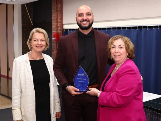 """(From left)Veronica Clinton, executive director of the Middlesex County College Foundation, who presented the award; Lakhwinderpal """"Paul"""" Singh; and College President Joann La Perla-Morales."""