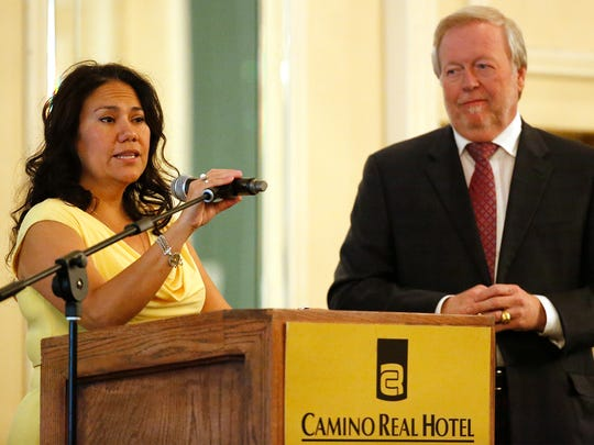 County Judge Veronica Escobar speaks at the monthly Central Business Association luncheon Wednesday afternoon at the Camino Real Hotel in Downtown. Escobar said if all goes well, a new CEO could be at University Medical Center of El Paso by July 1. Tanny Berg, a Central Business Association board member, looks on as Escobar, who was the guest speaker, replies to a question from the audience.