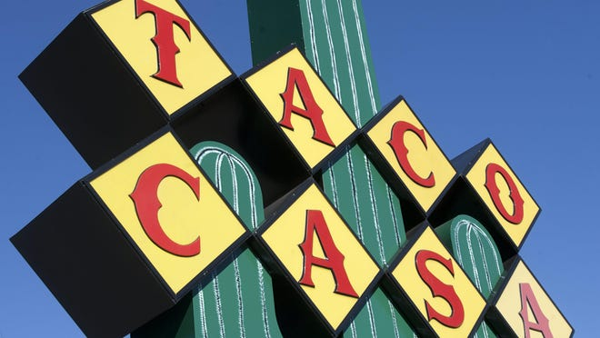 Taco Casa is known for its distinctive sign featuring a cactus.