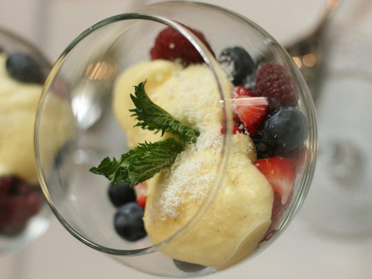 Microplanes take center stage in preparing Fresh Seasonal Berries with Creme Anglaise.