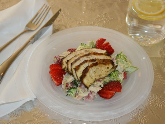 Grilled, Marinated Chicken on Strawberry-Broccoli Slaw.