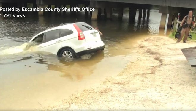 The Escambia County Sheriff's Office recovered a stolen SUV from Heron Bayou on Tuesday morning.
