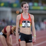 Molly Huddle reacts after winning the women's 10,000 m meters in June of 2015 at the USA Track and Field Championships in Eugene, Oregon.
