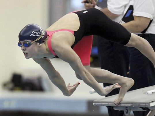 Chambersburg's Abby Stauffer comes off the blocks to start the 200 IM finals during the PIAA Class AAA Swimming Championships at Bucknell University on Friday. Stauffer finished second with a time of 2:02.52, a school record and her personal best.