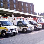Ambulances sit outside York Hospital in a 2011 file photo.