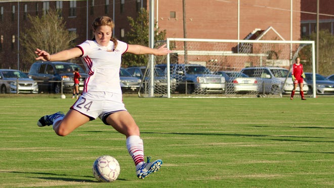 William Carey's Macy Rogers kicks the ball during a game earlier this season.