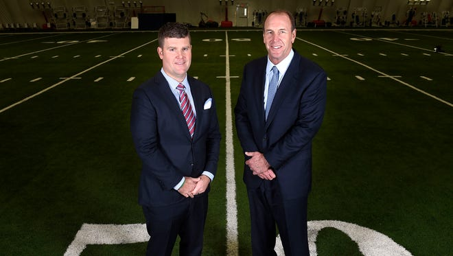 Titans GM Jon Robinson and head coach Mike Mularkey will lead the team in the coming seasons. The pair pose for a portrait at St. Thomas Sports Park Monday Jan. 18, 2016, in Nashville, Tenn.