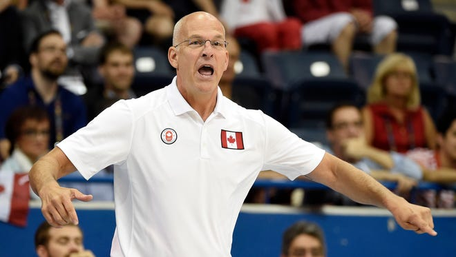Jul 24, 2015: Canada head coach Jay Triano calls to his team against the United States in the men's basketball semifinal game the 2015 Pan Am Games at Ryerson Athletic Centre.