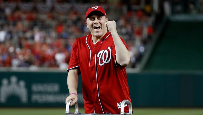 NLDS Game 1: Cubs at Nationals - Rep. Steve Scalise, who was critically injured when a gunman targeted a congressional baseball practice four months ago, throws out the ceremonial first pitch.
