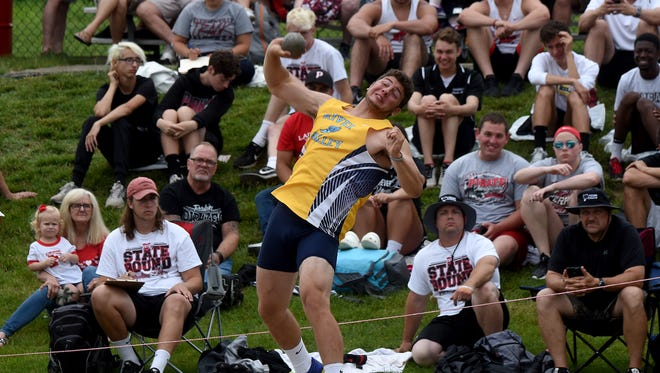 River Valley's Max Cooper competes in the shot put during the state track and field tournament on Friday, June 1, 2018 at Jessie Owens Memorial Stadium.